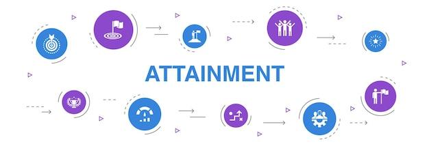 Errungenschaft infografik 10 schritte kreisdesign. ziel, führung, ziel, teamarbeit einfache symbole