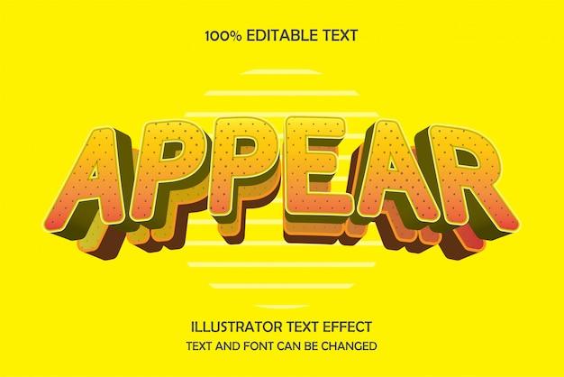 Erscheint, bearbeitbarer texteffekt im modernen ebenenstil