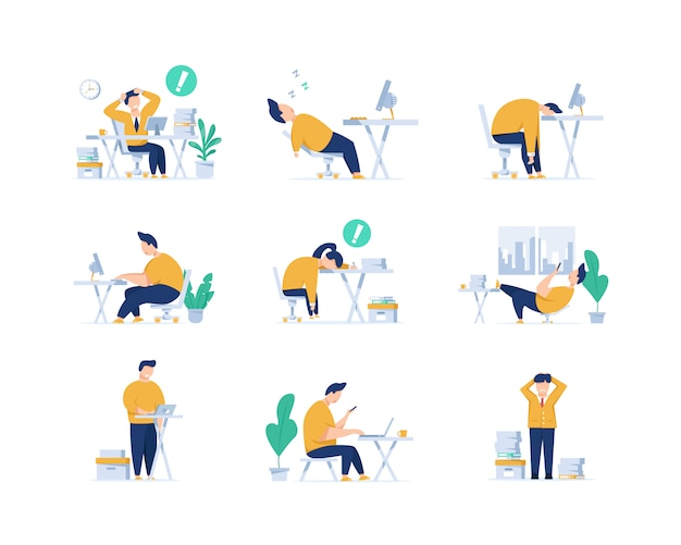 Erschöpft, burnout-konzept, langer arbeitstag, frustrierter arbeiter, junger erschöpfter manager, der im büro sitzt