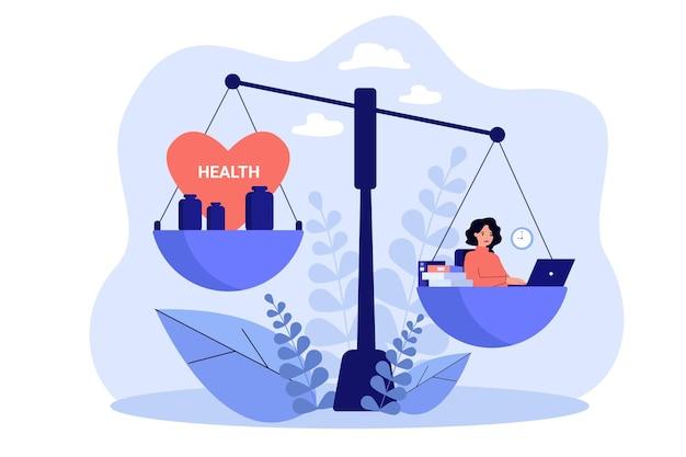 Erschöpfte frau, die gesundes leben verliert, während illustration überarbeitet