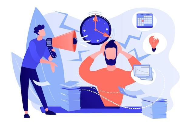 Erschöpfter, frustrierter arbeiter, burnout. chef schreit mitarbeiter an, frist. wie man stress, akute belastungsstörungen und arbeitsbedingtes stresskonzept abbaut. isolierte illustration des rosa korallenblauvektors