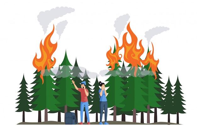 Erschreckte camper während eines feuers in der flachen waldillustration. naturkatastrophe, brennender wald.