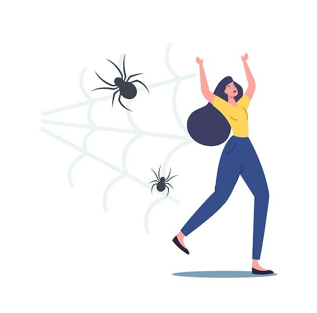 Erschrockene schreiende frau, die vor einer gruseligen spinne davonläuft, die angst vor insekten hat. weiblicher charakter, der unter arachnophobie psychischem problem leidet und panikattacken hat. cartoon-menschen-vektor-illustration