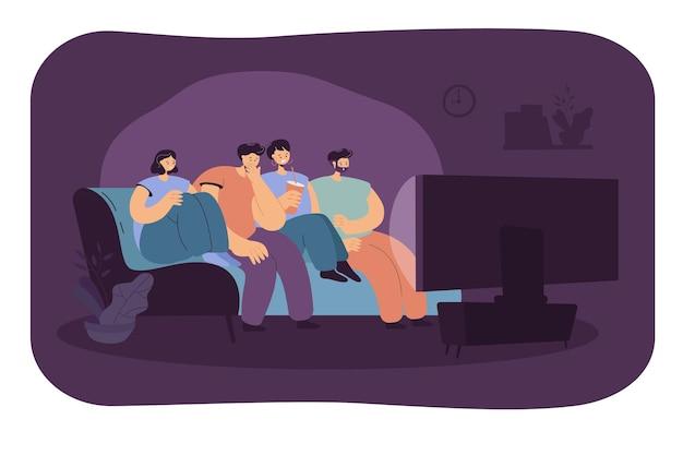 Erschrockener freund, der horrorfilm zusammen isolierte flache illustration sieht. karikaturillustration
