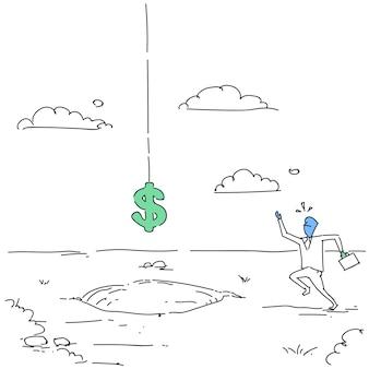 Erschrockener geschäftsmann mit dem dollarzeichen, das in loch-kreditschulden-finanzkrise-konzept fällt