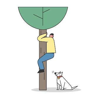Erschrockener mann, der vom kletterbaum des hundeangriffs rettet. aggressiver wachhund, der auf menschen bellt. schutzgebiet für haushunde