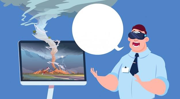 Erschrockener mann in den virtuellen gläsern 3d sendung von tornado-hurrikan-schadens-nachrichten über sturm waterspout im landschafts-naturkatastrophen-konzept aufpassend