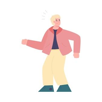 Erschrockener mann schaut sich in der flachen karikaturillustration der besorgnis um