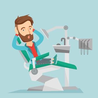 Erschrockener patient in der zahnmedizinischen stuhlvektorillustration