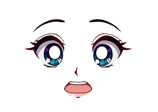 Erschrockenes anime-gesicht. große blaue augen im manga-stil, kleine nase und kawaii mund. handgezeichnete vektor-cartoon-illustration.