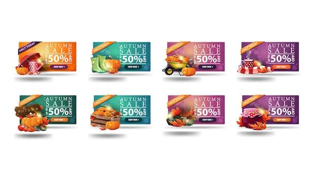 Erst heute, herbstverkauf, bis zu 50% rabatt, große sammlung von rabattbannern mit herbstsymbolen. orange, grüne und rosa rabattbanner