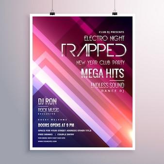 Erstaunlich glänzende lichter musik-flyer vorlage mit abstrakten streifen hintergrund