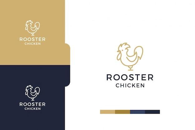 Erstaunlich, zeichnung hahn huhn minimalistische logo-vorlage.