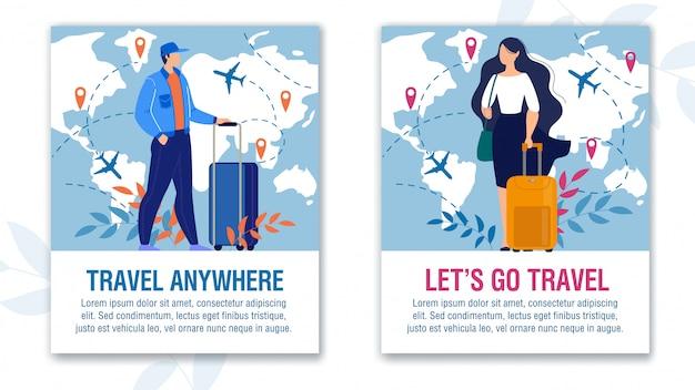 Erstaunliche abenteuer und world travel motivation set