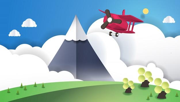 Erstaunliche bergansichten mit flugzeugen semi realistisches 3d