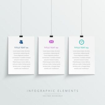 Erstaunliche hängende weiße banner infografik-vorlage