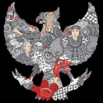 Erstaunliche indonesien-kultur in garuda silhouete