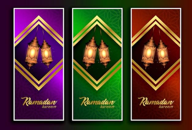 Erstaunliche ramadan kareem banner mit hängelampen