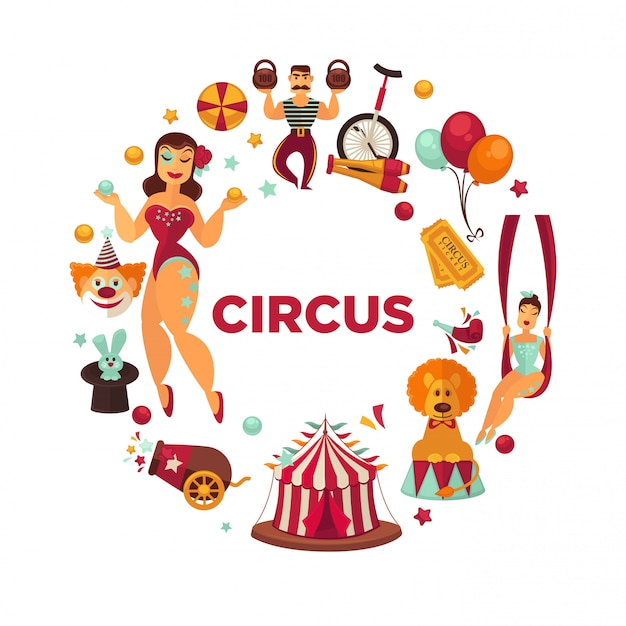 Erstaunliche show am berühmten großen zirkus-promoplakat.