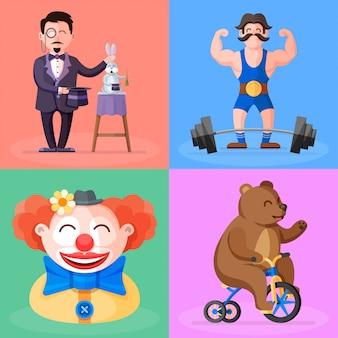 Erstaunliche zirkus zeigen bunte karikaturillustration. magier mit seinem magischen hut und kaninchen, starker mann mit langhantel und schnurrbart, lustiger clown im hut und niedlicher bär auf fahrradvektor-zeichensatz