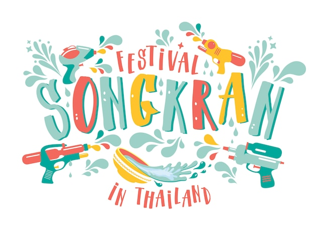 Erstaunlicher festivalentwurf thailands songkran auf weiß.