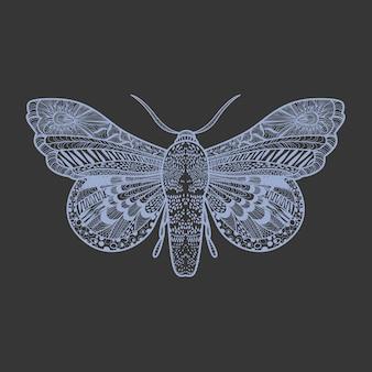 Erstaunlicher fliegenschmetterling auf schwarzem hintergrund