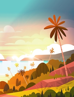 Erstaunlicher sonnenuntergang auf küste, tropischer landschaftssommer-strand mit exotischem erholungsort-plakat der palme