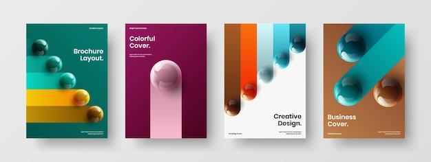 Erstaunliches 3d-bälle-katalog-cover-vorlagenpaket
