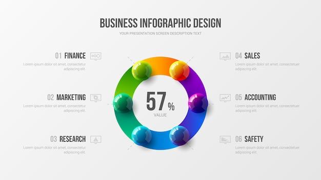 Erstaunliches geschäftsinfografik-präsentations-buntkugel-illustrationsdesign-layout