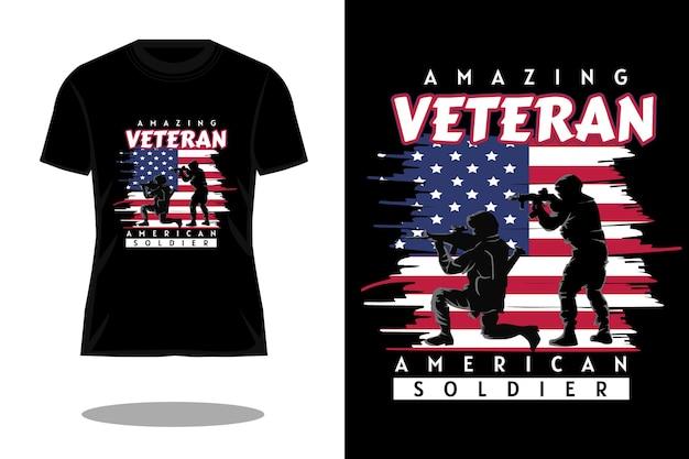 Erstaunliches veteranen-silhouette-retro-t-shirt-design