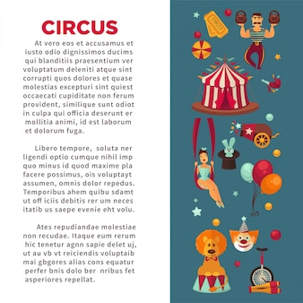 Erstaunliches zirkus-werbeplakat mit teilnehmern von show und ausrüstung.