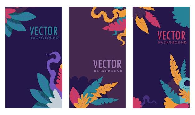 Erste buchseite oder typografischer umschlag für zeitschrift oder zeitschrift. banner oder poster mit dekorativem laub und inschriften. sommer- oder frühlingsstrauß, postkarte oder karte. vektor im flachen stil