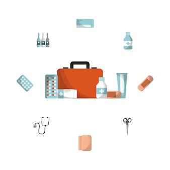 Erste-hilfe-aktenkoffer- und medizinausrüstungsikonen