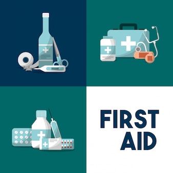 Erste-hilfe-ausrüstung für medizinische geräte