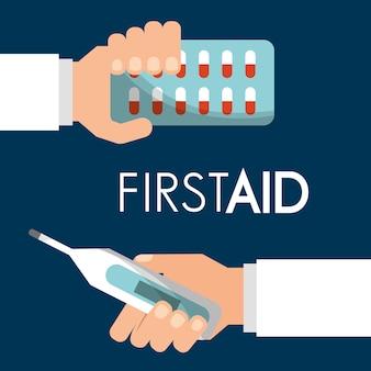 Erste-hilfe-hand mit pillen und thermometer