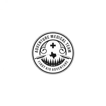 Erste hilfe im outdoor-abenteuer stürzt logo