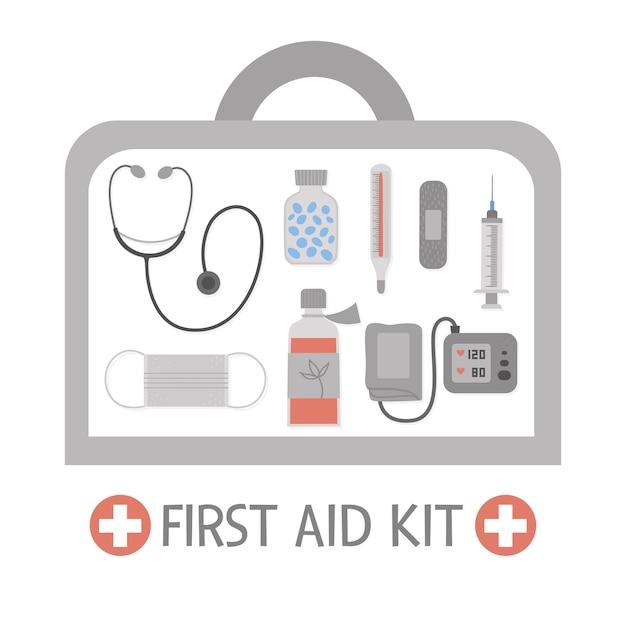 Erste-hilfe-kasten mit ausrüstung. medizinische notfallbox mit medizin, stethoskop, tonometer. arztwerkzeuge in einer tasche angeordnet