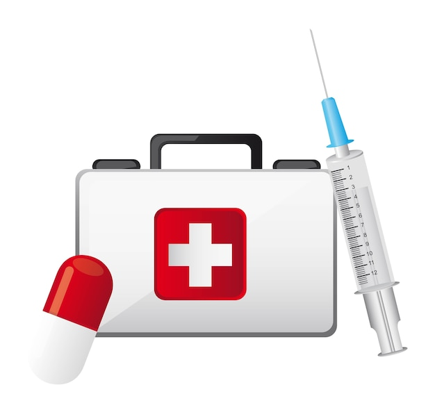 Erste-hilfe-kasten mit injektion und pille isoliert