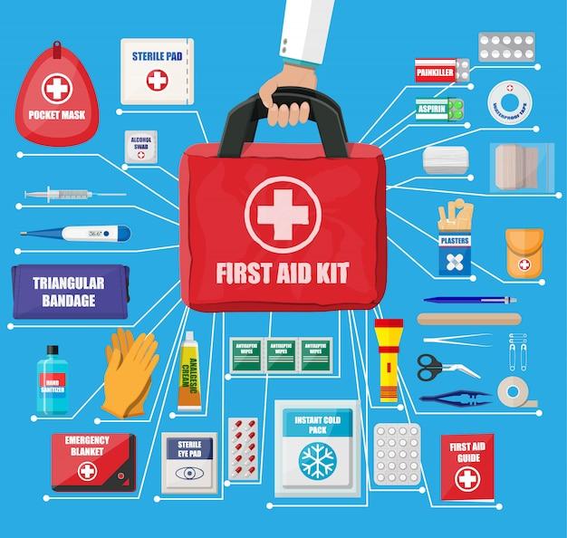 Erste-hilfe-kasten mit medizinischen geräten