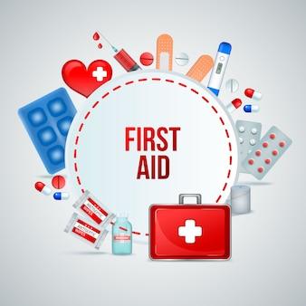 Erste-hilfe-kasten realistische runde rahmenzusammensetzung von medizinischen notfallbehandlungsversorgungen mit verbandpillen