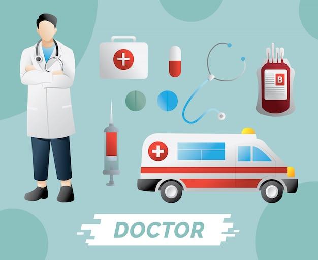 Erste-hilfe-kasten und medizin der medizinischen instrumente