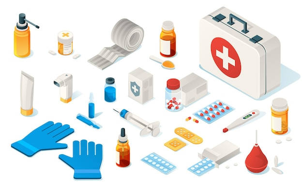 Erste-hilfe-kind-werkzeuge der medizinischen notfallbox