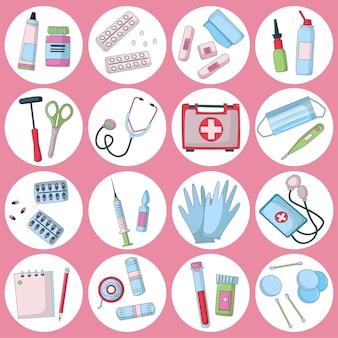 Erste-hilfe-set ausrüstung und medikamente für die medizinische notfallversorgung