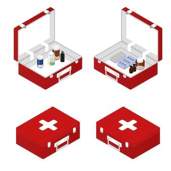 Erste-hilfe-set in der isometrischen. tabletten, salbe, kapseln im inneren. eine kiste mit einem tablet. medizinische versorgung und werkzeuge. patient der grundversorgung. vektor-illustration.
