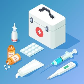 Erste-hilfe-set medikamente und werkzeuge gesetzt