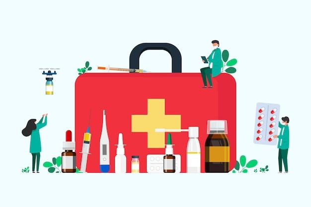Erste-hilfe-set mit halsmedikamenten, erkältungsmittel, thermometer, tabletten, spritze zur injektion. menschen sammeln medikamente im erste-hilfe-kasten