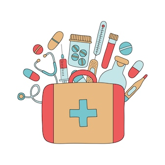 Erste-hilfe-set mit medikamenten, vektorsymbol für medizinische boxen, notfallkoffer handgezeichnet, arztwerkzeuge. abbildung für das gesundheitswesen