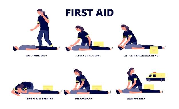 Erste-hilfe-wiederbelebung. cpr-training, wiederbelebung des herznotfalls. krankenwagen und medizinische hilfe.