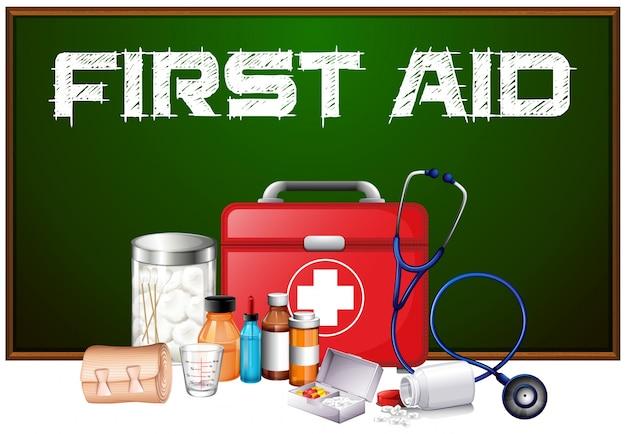 Erste hilfe wort an bord und verschiedene ausrüstung im kit