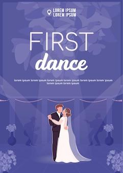 Erste tanzplakat flache vektorschablone. braut und bräutigam halten sich an den händen. frisch verheiratetes paar mit comicfiguren. hochzeitszeremonieplakat